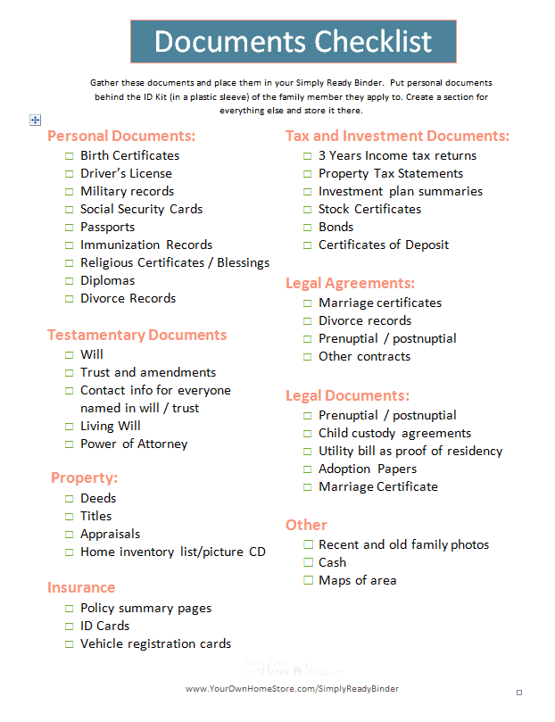 Important Documents Checklist for grab and go binder image