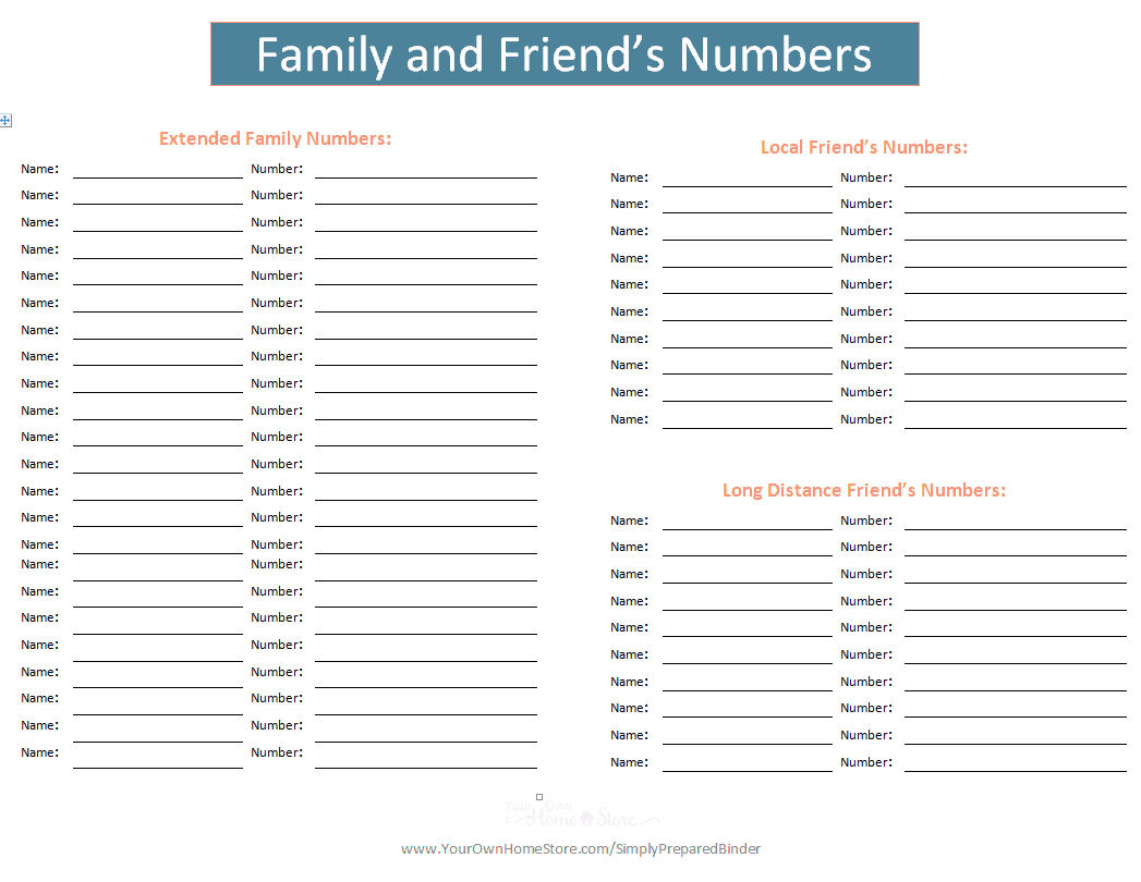family and friends numbers for your important documents grab and go binder