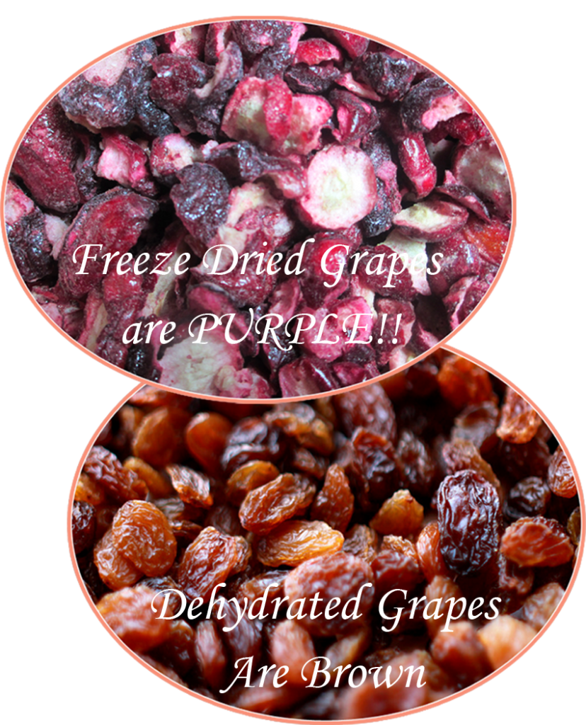Freeze dried vs dehydrated grapes