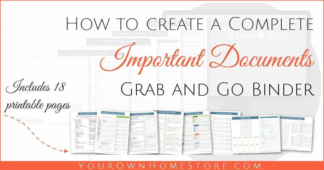 How to create a complete emergency important documents grab and go binder. Includes 18 free pages you can print for your binder.