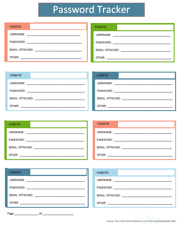 Password tracker for your important documents grab and go binder