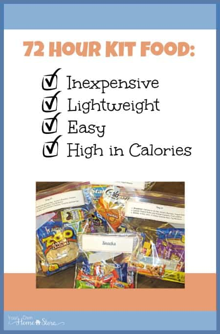 Packing food in a 72 hour kit can be tricky.  It needs to be lightweight, easy to access, high in calories and not cost a fortune.  This list is awesome!