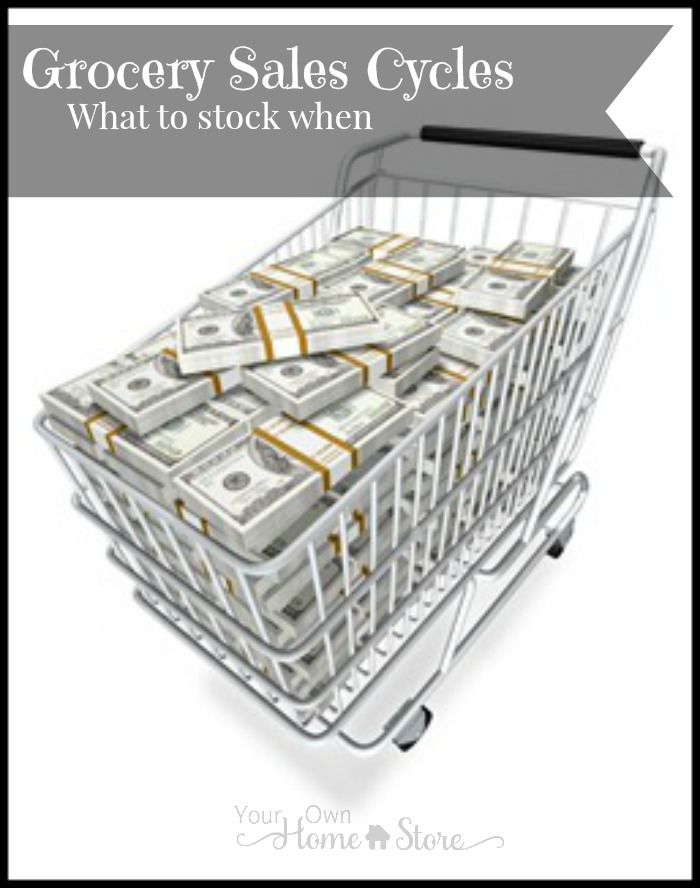 Grocery sales cycles from Your Own Home Store.  Know what you should focus on stocking up on each month: http://www.yourownhomestore.com/grocery-sales-cycles/