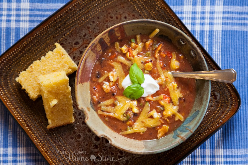 Creamy Enchilada Soup and Cornbread https://simplefamilypreparedness.com/?p=2194