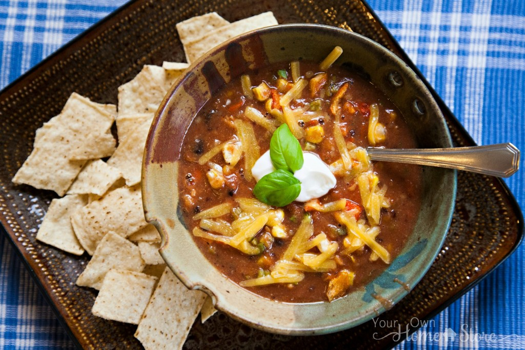 Creamy Enchilada Soup with Chips  Creamy Enchilada Soup with Chips:  http://simplefamilypreparedness.com/?p=2194