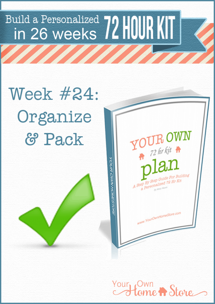 Week #24 in a step by step 72 hour kit series.  Makes building a robust, personalized 72 hour kit affordable and do-able!