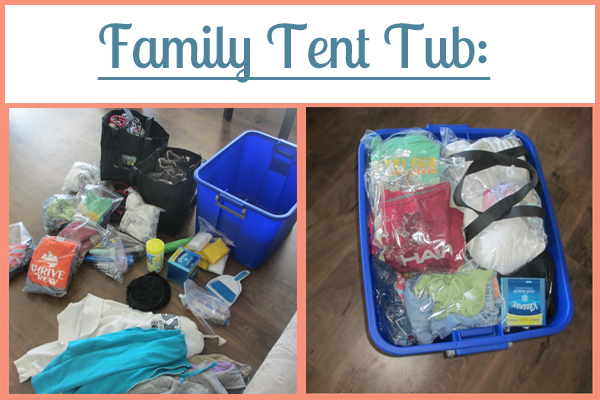 Family Tent Tub: Part of the Ultimate Family Camping Packing List With Printables from Simple Family Preparedness: https://simplefamilypreparedness.com/family-camping-list/