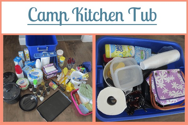 Camp Kitchen Tub: Part of the Ultimate Family Camping Packing List With Printables from Simple Family Preparedness: https://simplefamilypreparedness.com/family-camping-list/