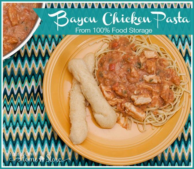 Bayou Chicken Pasta From 100% Food Storage: https://simplefamilypreparedness.com/?p=8124