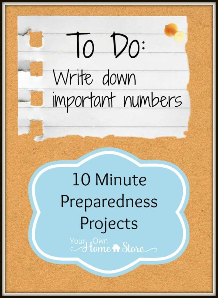 10 min preparedness project from Simple Family Preparedness: Know Your Numbers