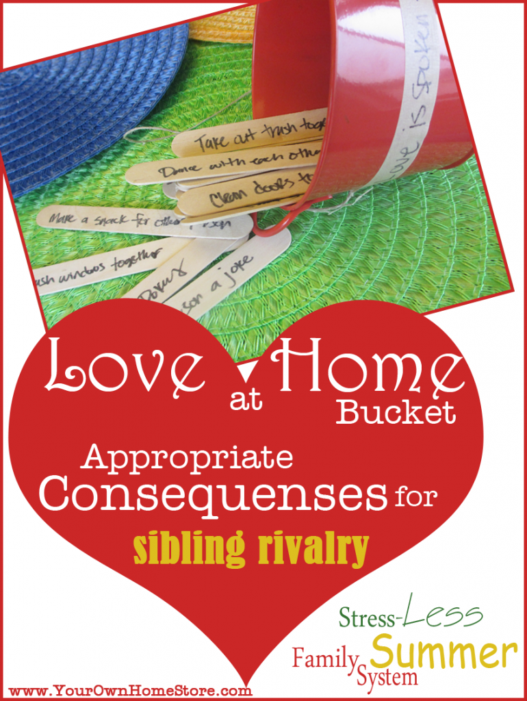 Love at Home Bucket  Appropriate and Pre-Determined Consequences for Sibling Fights