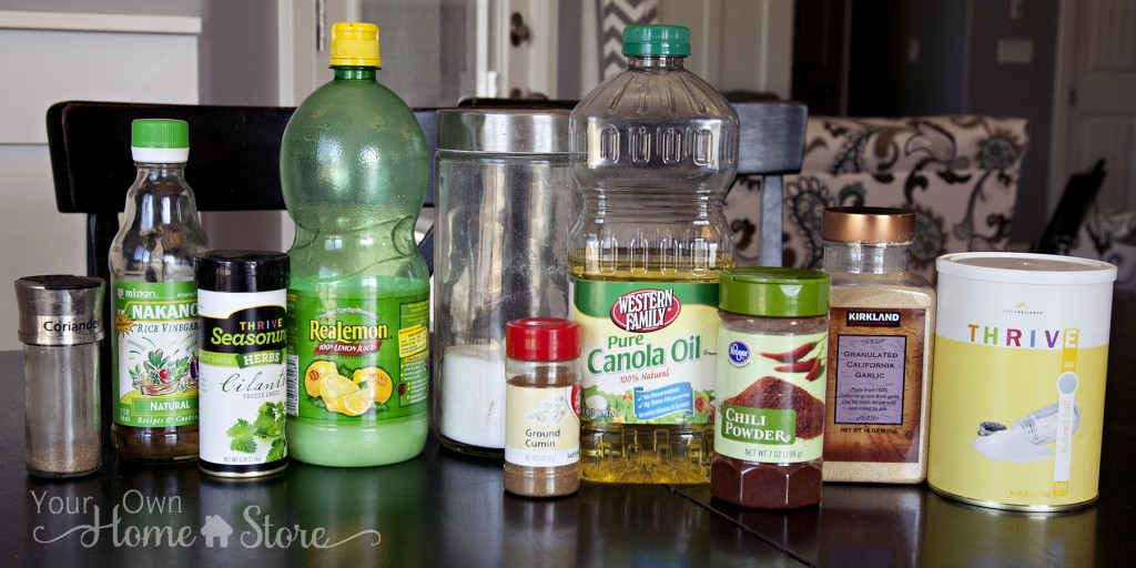 Southwest Pasta Salad Dressing Ingredient Bottles