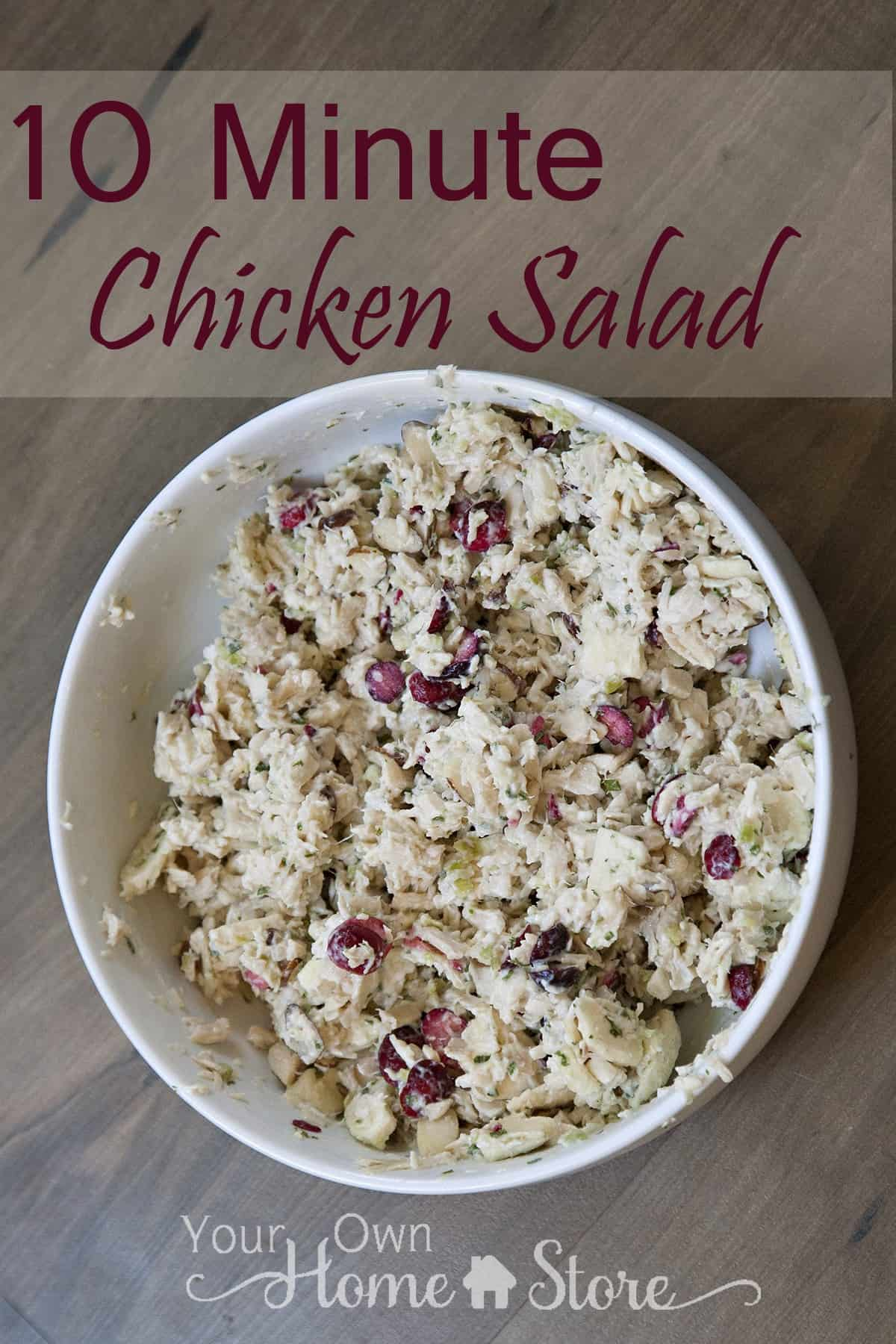10 Minute Chicken Salad Recipe from Simple Family Preparedness https://simplefamilypreparedness.com/chicken-salad/