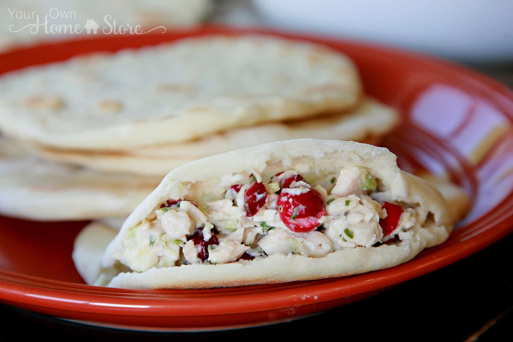 Quick and Easy Chicken Salad on Pita Bread from Simple Family Preparedness https://simplefamilypreparedness.com/chicken-salad/