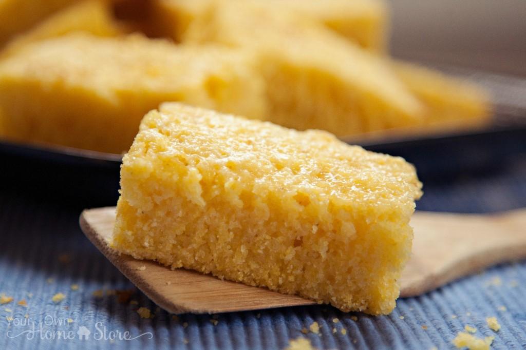 Golden 5 minute Golden Cornbread https://simplefamilypreparedness.com/cornbread/