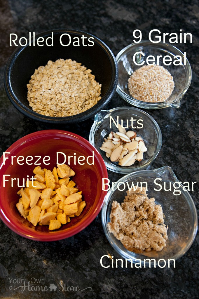 Homemade Oatmeal ingredients from Simple Family Preparedness