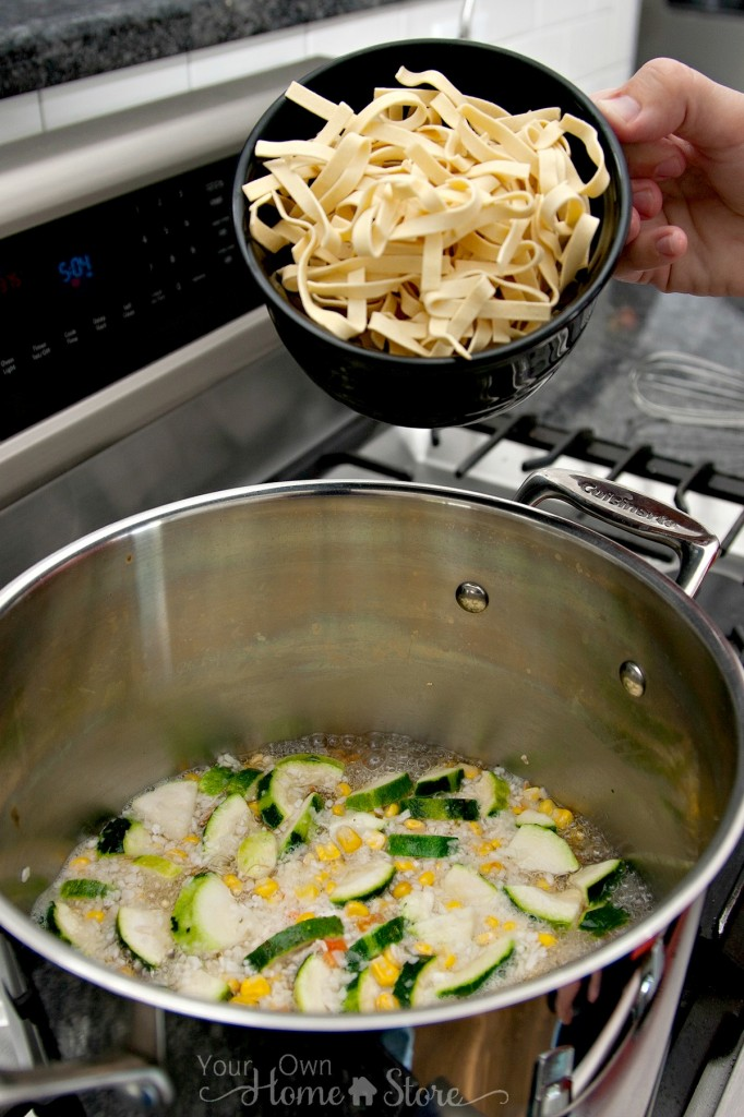 Add noodles to homemade chicken noodle soup: https://simplefamilypreparedness.com/homemade-chicken-noodle-soup/