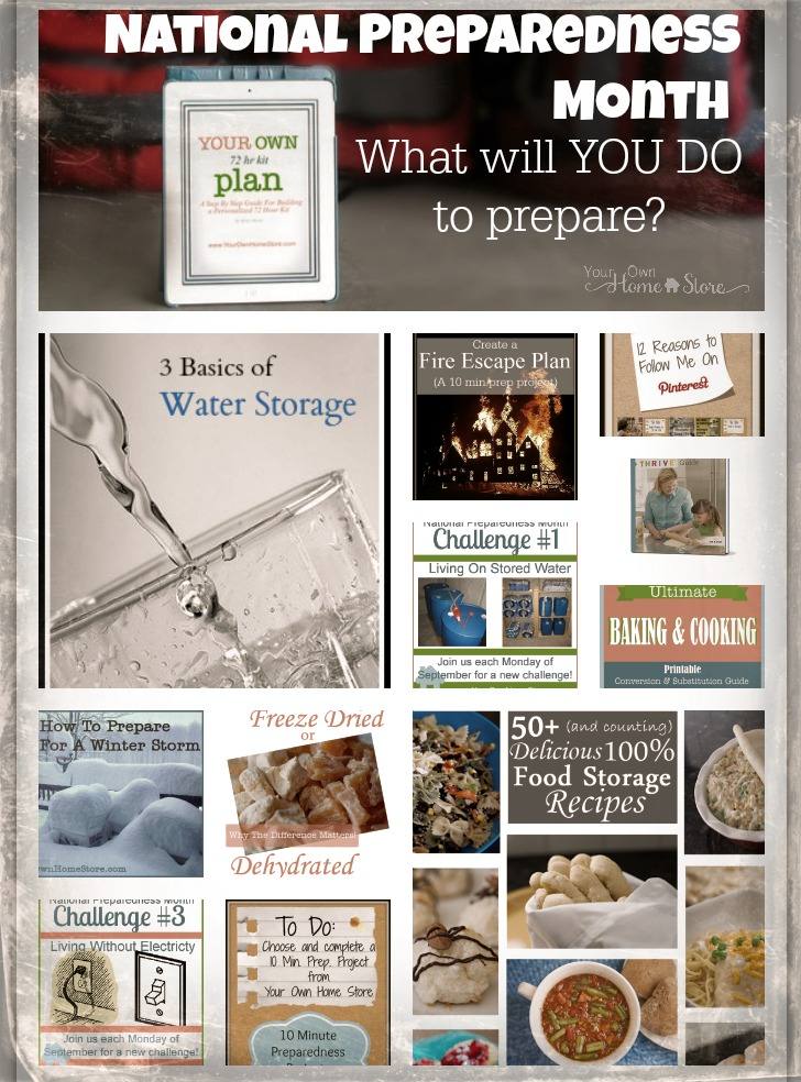 National Preparedness Month.  A whole list of things from 10 min projects to month long efforts you can do to become better prepared this month: http://simplefamilypreparedness.com/national-preparedness-month-you