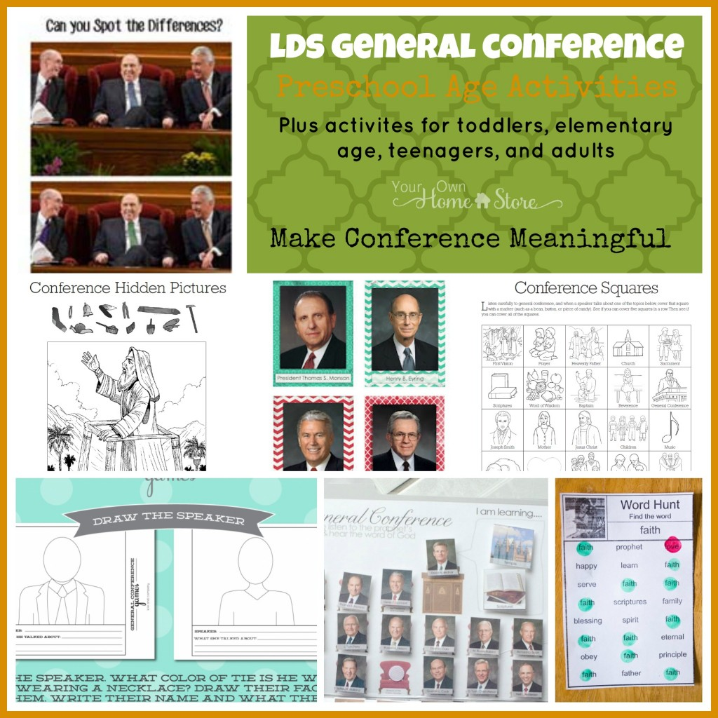 General Conference Preschool age Activity ideas, plus the Ultimate list of Ideas for making General Conference Meaningful for all ages: http://simplefamilypreparedness.com/?p=9461