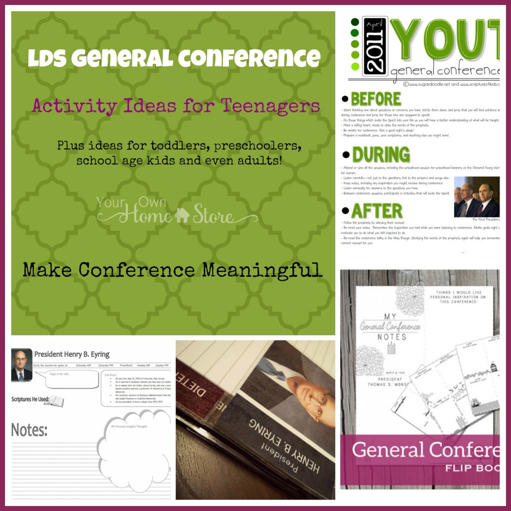General Conference Activity ideas for teenagers, plus the Ultimate list of Ideas for making General Conference Meaningful for all ages: http://simplefamilypreparedness.com/?p=9461
