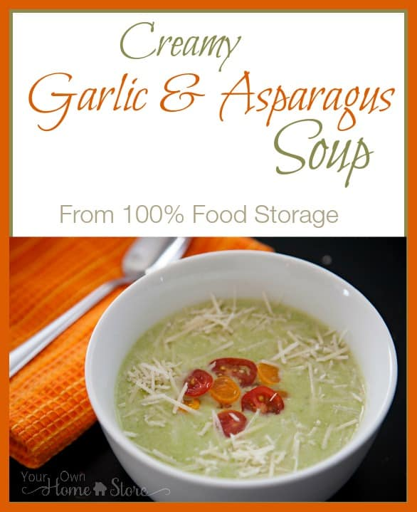 A delicious Garlic and Asparagus Soup from food storage! https://simplefamilypreparedness.com/garlic-asparagus-soup/