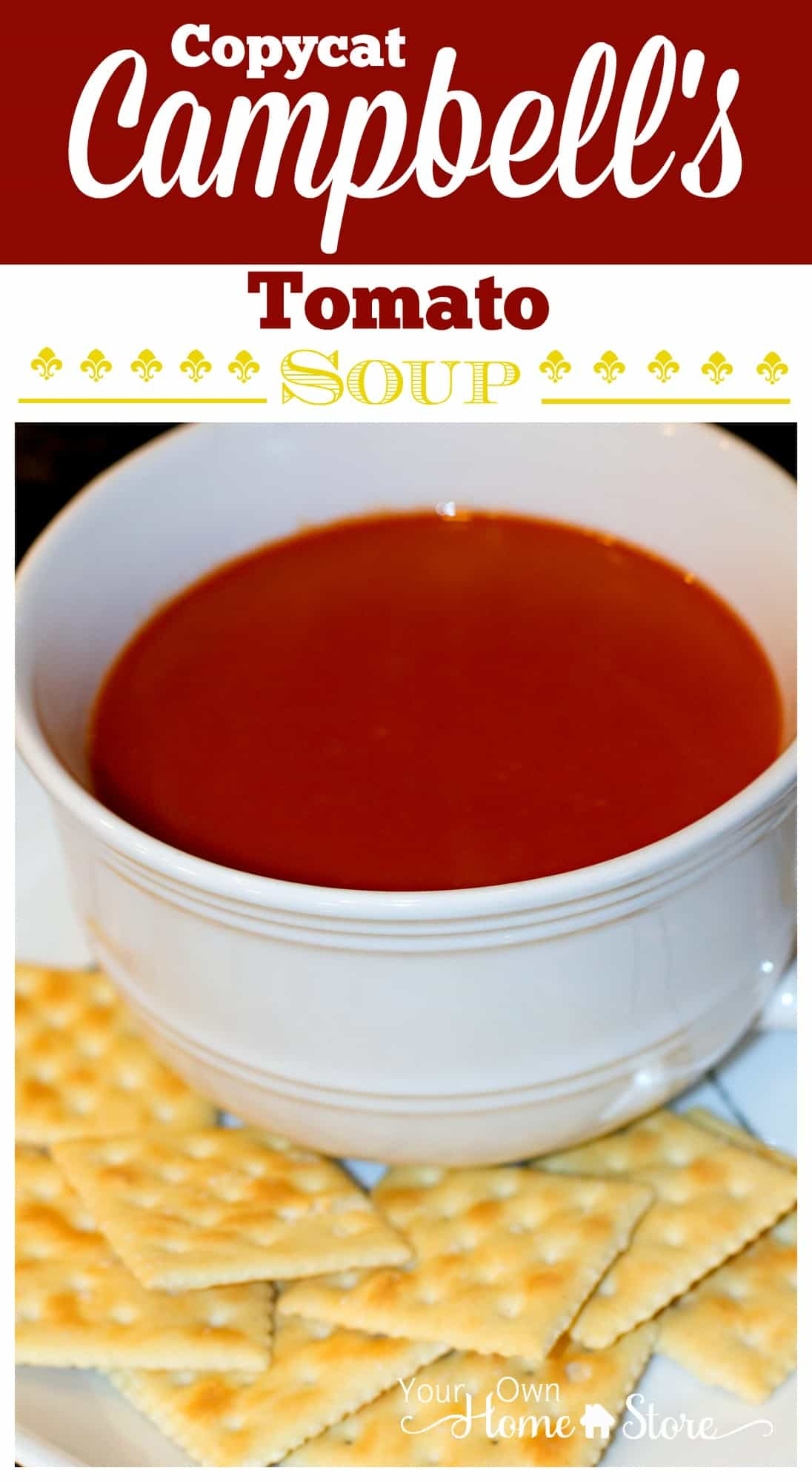 5 Ingredient Copycat Campbell's Tomato Soup Recipe. This is SPOT-ON and has no preservatives! http://simplefamilypreparedness.com/copycat-cambells-tomato-soup/