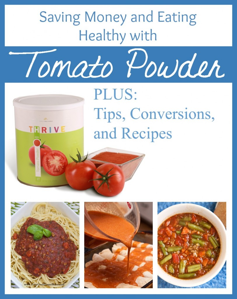 Tomato Powder has SO many uses!  Plus it is additive free!  Just 100% tomatoes.  Make tomato sauce, paste, juice and more (like ketchup!) with this amazing product for less than the grocery store.  http://www.yourownhomestore.com/tomato-powder/