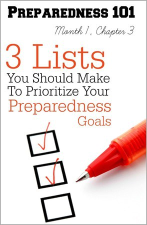 Even if you know what you need to be prepared for, it can be tough to know where to start. These 3 lists will help you prioritize your preparedness goals