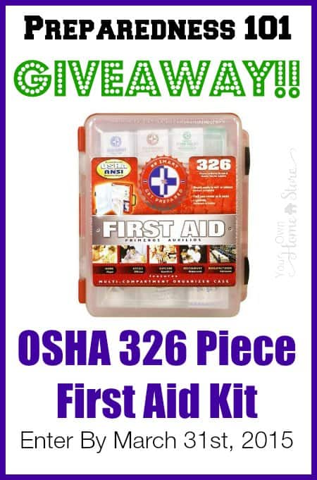 Enter to win a 326 piece First Aid Kit from Simple Family Preparedness as part of her Emergency Preparedness 101 Course.