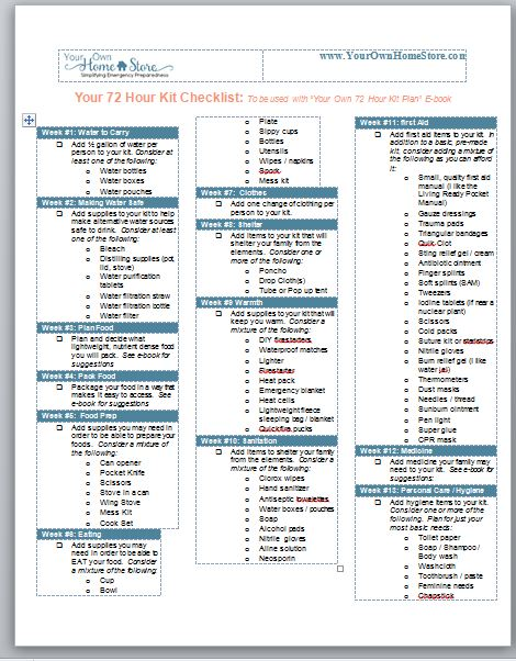 72 hour kit checklist fema supplies to survive an apocalypse. Black Bedroom Furniture Sets. Home Design Ideas