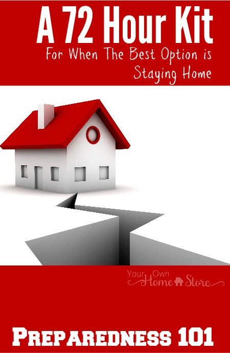 "Often a 72 hour kit is thought of as a ""grab and go"" kit, but often staying home is the smarter option. Find out what to put in a ""stay at home"" kit."