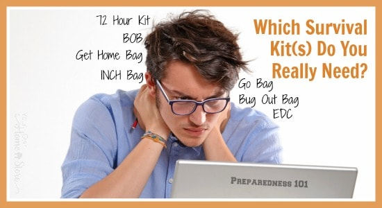 Are you confused by all the survival kit names? 72 hour kit, survival bag, INCH bag, BOB, Bug out bag, Go bag, Get home bag and MORE! Let me simplify it!