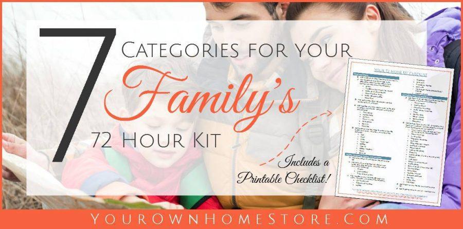 72 Hour Kit Checklist | Family 72 hour kit | 72 hour kit for kids