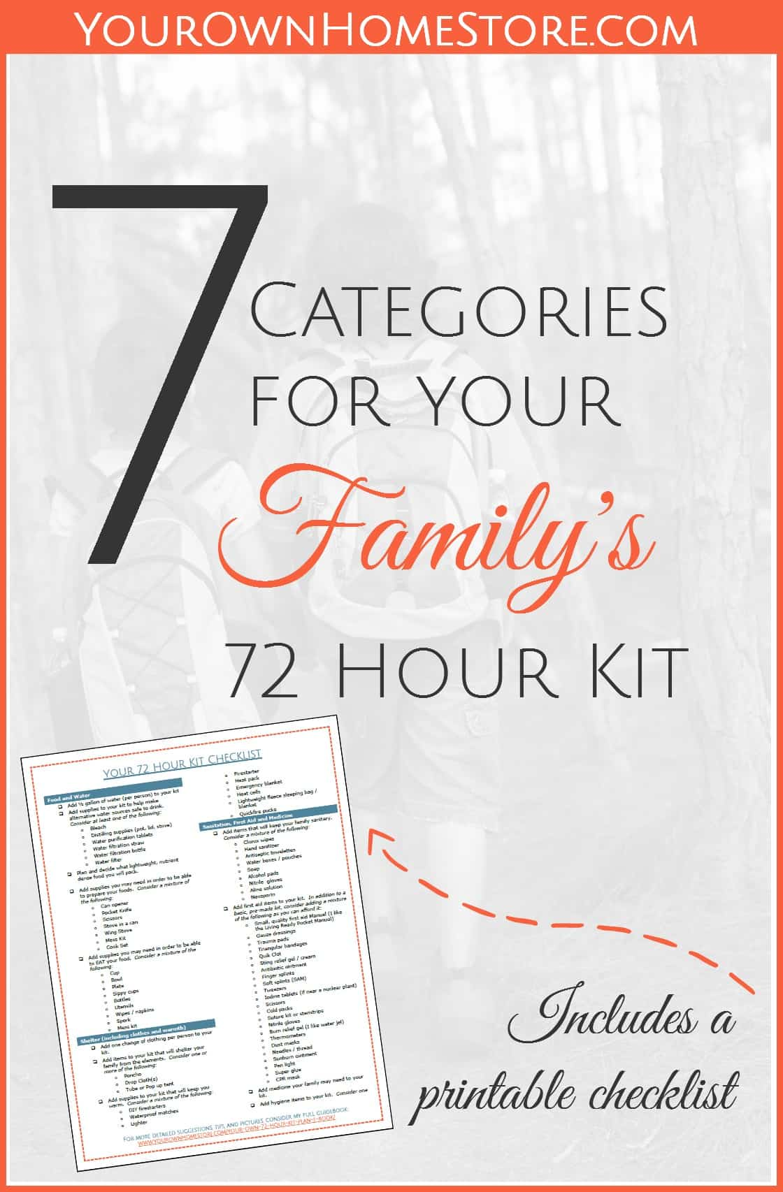 Seven Essential Categories for Your Family's 72 Hour Kit