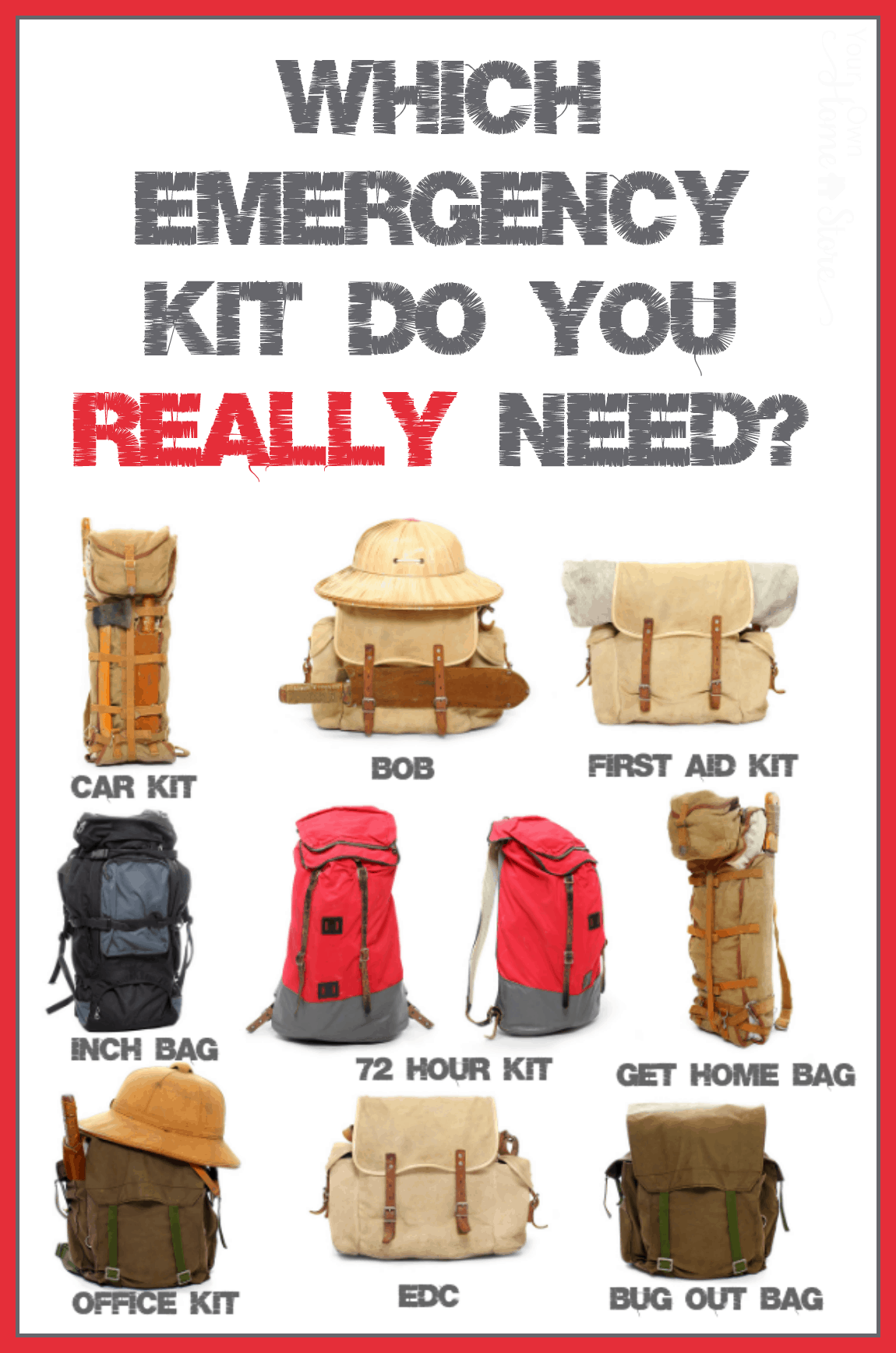 Which emergency kit bag s do you really need for Things you need for a home