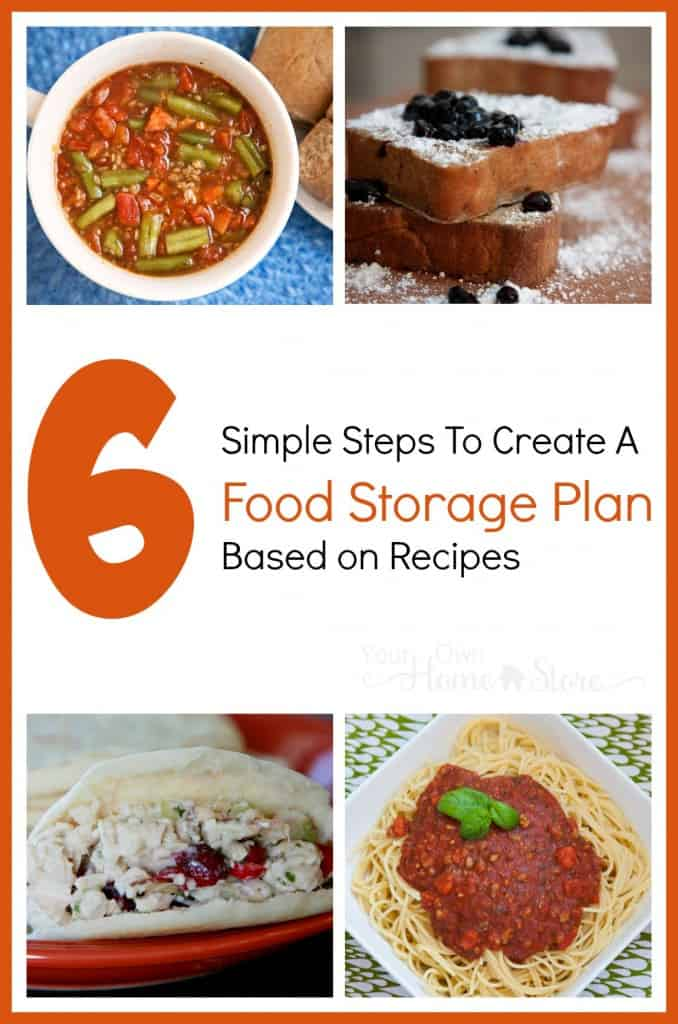 Food storage based on recipes your family actually eats is easy to rotate and use in an emergency! These six steps will walk you through creating a plan.
