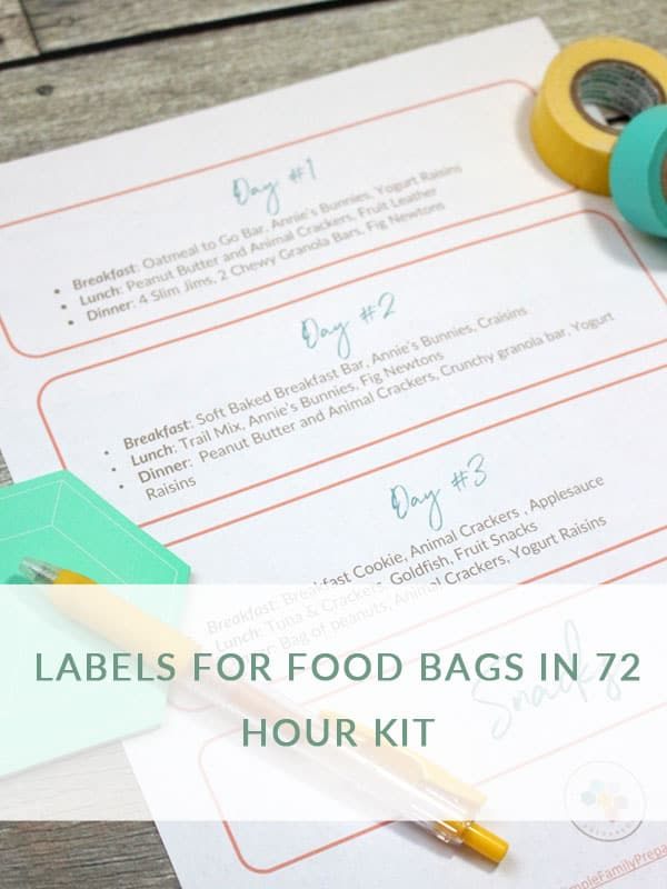 72 hour food kit labels