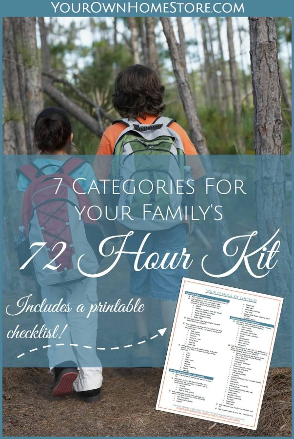 72 hour kit checklist | Ideas for a family 72 hour kit