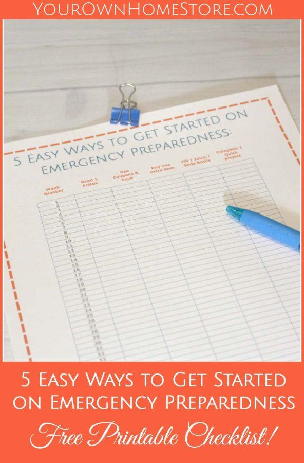 Emergency Preparedness Checklist | 5 easy ways to get started on emergency preparedness | Emergency Preparedness Printables