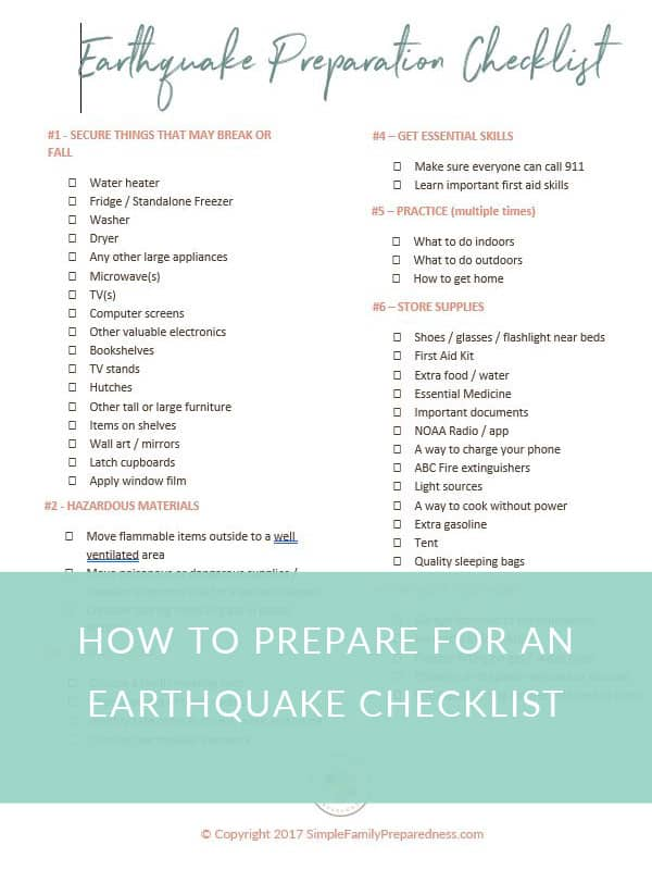 How to prepare for an earthquake checklist