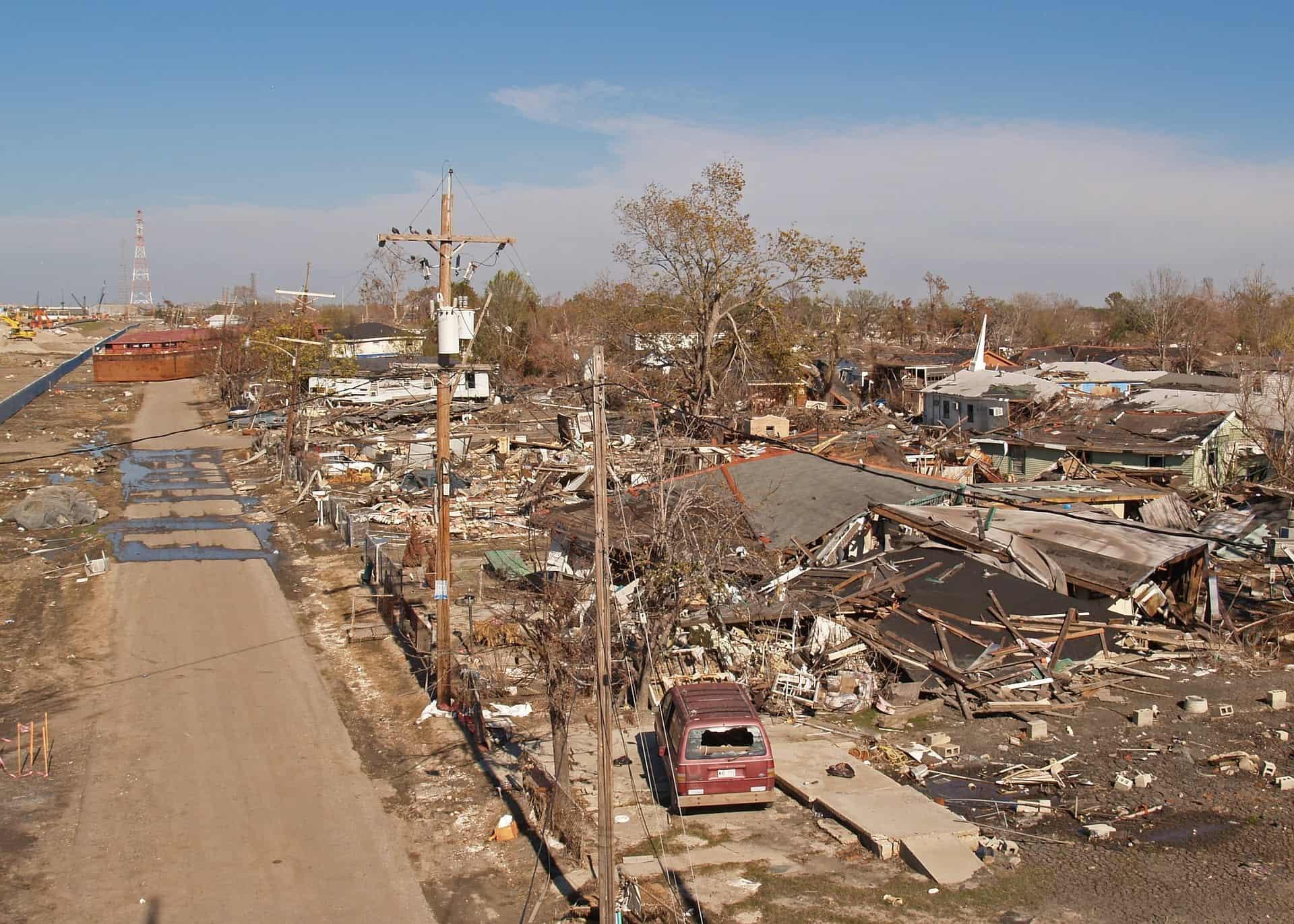 city rubble left by a tornado