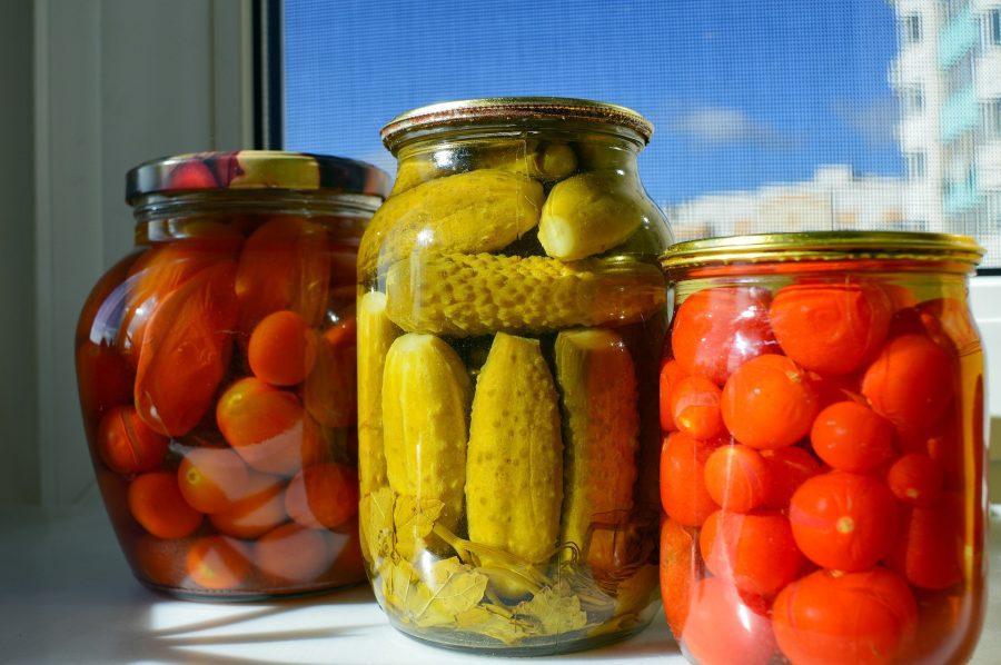 Jars of various pickled vegetables